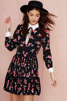 Nasty Gal Bed of Roses Collared Dress