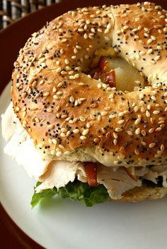 Everything Bagel with Turkey, Pear & Brie these are so good I have had them at panera bread!!!