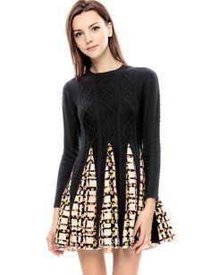 Navy Cable Knit Dress - Cute Floral Sweater Dresses - $79