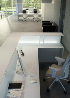 Reception desk with Built-In Lights Quaranta5 Collection by FANTONI