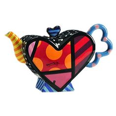 ROMERO BRITTO /'Flying Heart/' 2015 Colorful Glass Art Wall Clock **NIB**