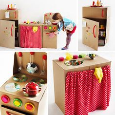 """My friend Jocelyn Worrall made this cardboard kitchen for Parents magazine a… Cardboard Kitchen, Cardboard Play, Cardboard Crafts, Kids Crafts, Projects For Kids, Diy For Kids, Diy Projects, Play Kitchen Diy, Nice Kitchen"