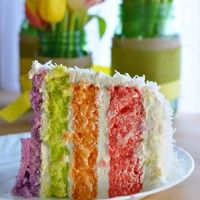 Coconut Kissed JELL-O Rainbow Layer Cake for Spring - Food Family & Finds