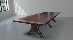 Walnut top Hure conference table by Vintage Industrial Furniture