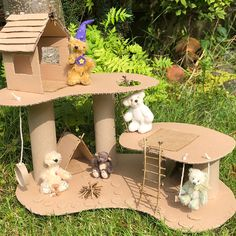 How to make a Recycled Cardboard Treehouse – Lottie Makes Cardboard Crafts Kids, Cardboard Tree, Cardboard Recycling, Cardboard Castle, Cardboard Sculpture, Paper Crafts, Cardboard Box Ideas For Kids, Cardboard Fireplace, Cardboard Playhouse