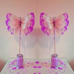 Two 14 girls birthday party centrepiece decorationstwo girls birthday party centrepiece decorations tissue paper butterflys baby shower wedding sweet 16 party favors DOWEL not includedHandmade made to order beautiful butterflies/ pom poms These delig Butterfly Birthday Party, Butterfly Baby Shower, Girl Birthday, Birthday Parties, Birthday Party Centerpieces, Centerpiece Decorations, Birthday Decorations, Butterfly Centerpieces, Butterfly Decorations