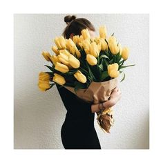 The 12 Real Touch Mini Tulip Bouquet consists of one dozen exquisitely decorative flowers. However, unlike their real counterparts which fade and drop petals after only a few days or even a few hours. My Flower, Beautiful Flowers, Tulip Bouquet, Bouquet Flowers, Tulips Flowers, Spring Flowers, Yellow Tulips, Flower Aesthetic, Gerbera