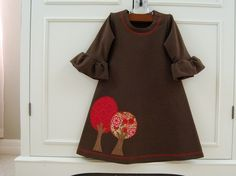Autumn trees jersey knit dress in chocolate brown by MightyBunny