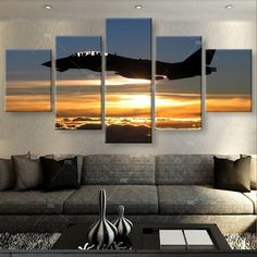 Aircraft in Sunset Painting - 5 Piece Canvas