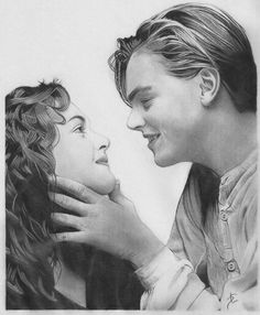 Sketch of Jack & Rose Titanic Movie Facts, Titanic Art, Sad Movies, Avatar Airbender, Love Never Dies, Romantic Love, Pencil Drawings, Famous People, Hand Embroidery