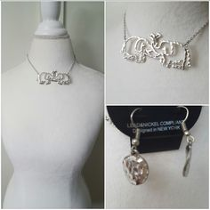 Elephant love iconic collar necklace set- silver