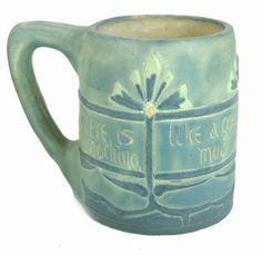 """William Percival Jervis (1849-1925) - Jervis Pottery (1908-1912) - Mug. Painted & Matte-Glazed Pottery. Inscibed: """"There is nothing like a good mug of Ale EXCEPT another mug"""". Oyster Bay, New York. Circa 1908. 4-1/2""""."""