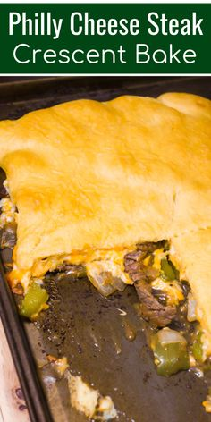 Philly Cheese Steak Crescent Bake is an easy dinner recipe loaded with steak strips, onions, green peppers and cheese all topped with a sheet of Pillsbury crescent roll dough. dinner recipes with crescent rolls Philly Cheese Steak Crescent Bake Crescent Dough Sheet Recipes, Pillsbury Crescent Recipes, Pillsbury Dough, Crescent Roll Recipes, Philly Cheese Steaks, Crescent Rolls, Vegan Recipes Easy, Easy Dinner Recipes, Kraft Recipes