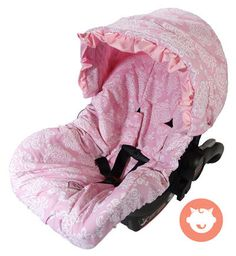 Pink Damask Baby Car Seat Cover Set with Ruffles w/ Monogram