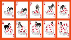 Transformed by an artist's imagination, these ordinary playing cards are a small box of treasure. Here are dogs as we imagine them to be: coy, heroic, aloof, comical and always lovable. A dramatic bal