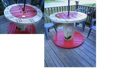 from wooden cable spool....to hand painted table