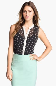 Bobeau Sleeveless High/Low Print Blouse available at #Nordstrom cute little penny bike print $35.98 5/16/13