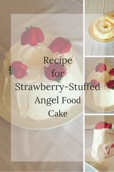strawberry-stuffed angel food cake-this cake is so easy to make using a store-bought angel food cake! Click through to see the recipe. farmgirlreformed.com New Recipes, Cake Recipes, Dessert Recipes, Ice Cake, Thing 1, Household Cleaning Tips, Angel Food Cake, All Family, Mixed Berries