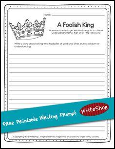 Why is wisdom better than wealth? Download this free Proverbs printable writing prompt.