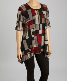 Another great find on #zulily! Black & Maroon Modern Art Sidetail Tunic - Plus by Come N See #zulilyfinds