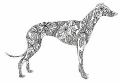 greyhound doodle ink on bristol board Greyhound Kunst, Greyhound Tattoo, Doodle Tattoo, Doodle Art, Zen Doodle, Sharpie Doodles, Sharpie Art, Bristol Board, Lurcher
