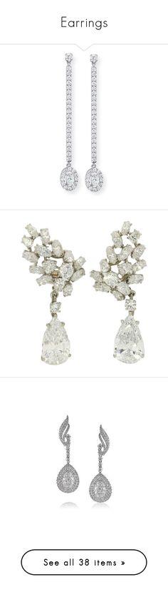 """Earrings"" by chiaral95 ❤ liked on Polyvore featuring jewelry, earrings, white gold diamond earrings, 18k white gold earrings, diamond earrings, diamond drop earrings, diamond jewelry, accessories, brinco and earring jewelry"
