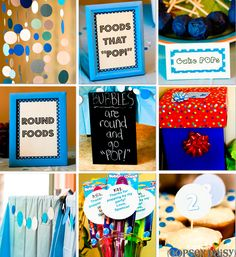 "Bubble birthday party for a toddler.  Could also combine into baby shower ""ready to pop"" idea."