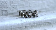 Vintage 14K White Gold Floral Vine Eternity Band. by GoldAdore