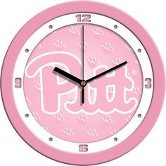 NCAA Pittsburgh Panthers Pink Wall Clock