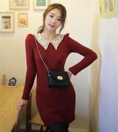 Korean Fashion Pearl Lace Collar Sweater