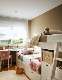 8 These Creative Kids' Rooms Are Probably Cooler Than Your Own Bedroom Girl Room, Girls Bedroom, Bedroom Built Ins, Creative Kids Rooms, Childrens Bedroom Decor, Kids Room Design, Kid Beds, Bunk Beds, Home Furniture