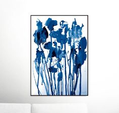 Abstract Navy Flowers Printable Abstract, Scandinavian Modern, Brush Prints, Simple Prints, Navy Blue Painting, Modern Prints, Brush Stroke Print, Brush Strokes. A modern Abstract Painting. 420 x 594 mm 16.5 x 23.4 in. A2 paper size. This Printable High-res JPEG will print bigger or