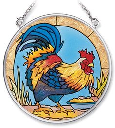 Amia Hand Painted Glass Suncatcher with Rooster Design, 3-1/2-Inch Circle by Amia. $10.00. Handpainted glass. Comes boxed, makes for a great gift. Includes chain. Amia glass is a top selling line of handpainted glass decor. Known for tying in rich colors and excellent designs, Amia has a full line of handpainted glass pieces to satisfy your decor needs. Items in the line range from suncatchers, window decor panels, vases, votives and much more.