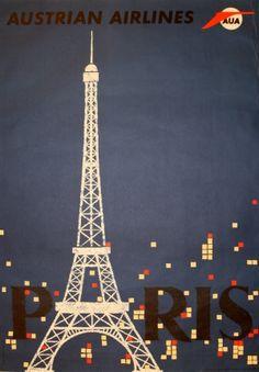 Paris Austrian Airlines, 1960s - original vintage poster by Otto Peterseil listed on AntikBar.co.uk....réépinglé par Maurie Daboux .•*`*•. ❥