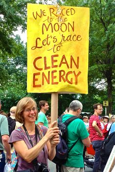 """""""We raced to the Moon. Let's race to CLEAN ENERGY!"""" - Fantastic sign at the #PeoplesClimate March, NYC.  #Climate2014  (Photo by H. Ferris, Nurture Nature Project)"""