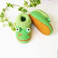 Купить валяные тапочки лягушки лягушата тапочки валяные детские - однотонный, зеленый