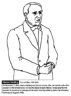 us president warren harding coloring page
