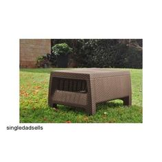 Patio Coffee Table Ottoman Deck Furniture Outdoor Porch Bench Yard Pool Garden #Keter #patiocoffeetable