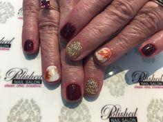 Thanksgiving Nail Art, Autumn Leaves, Salons, Cups, Nail Polish, Creative, Fall Leaves, Lounges, Mugs