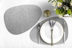 Silver, vinyl, curve, oval, heat resistant, placemats, faux leather, leather-like, prestigious, tableware, dinnerware, dining setting, decor Bbq Table, Romantic Dinner For Two, Grey Home Decor, Vintage Tile, Placemat Sets, Leather Texture, Dining Table In Kitchen, Vinyl, Tableware