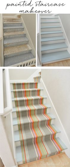 painted staircase makeover with Dash and Albert runner, with before and instructions via Centsational Girl