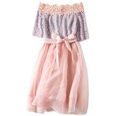 Pink Off Shoulder Lace Skater Mini Dress (3 745 UAH) ❤ liked on Polyvore featuring dresses