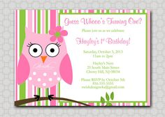 Owl Birthday Invitation - First Birthday  Look  Whoo's Turning One  Stripes  girl  printable digital  invitations   pink and green on Etsy, $15.00