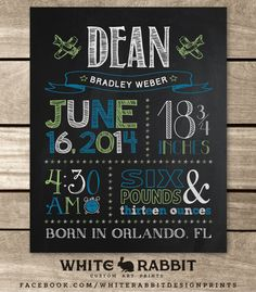 Birth Announcement Chalkboard Sign by WhiteRabbitArtPrints on Etsy