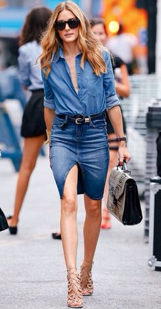 DENIM FEVER- jupe en jean, total look jean, chemise en jean, olivia palermo Fashion Mode, Denim Fashion, Look Fashion, Fashion Trends, Street Fashion, Fashion Casual, Modest Fashion, Look Jean, Denim Look
