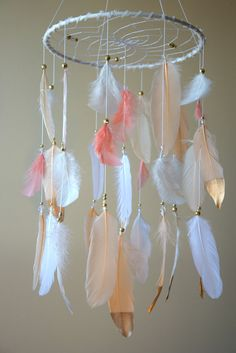 Baby Mobile Baby Girl Mobile Feather by DreamCatchersByTasha