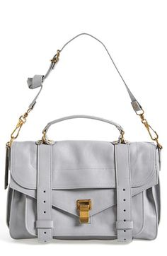 {Proenza Schouler 'Medium PS1' Satchel in Concrete Grey & Gold}