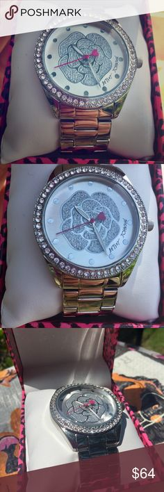Betsey Johnson Silver Glitter Rose Watch NWT Betsey Johnson Silver Glitter Rose Boyfriend Watch Betsey Johnson Accessories Watches