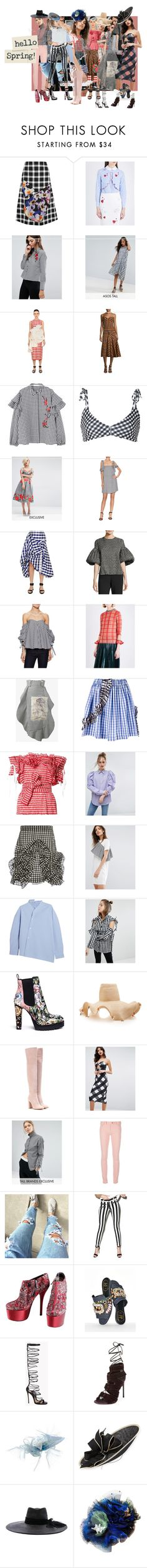 """""""Gingham Ghosts"""" by leotajane ❤ liked on Polyvore featuring Christopher Kane, Trilogy, VIVETTA, Influence, ASOS, Patricia Padrón, Victoria Beckham, MANGO, Camp Cove and Horrockses"""