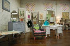 looks like a fun shop ~ neat owl chair & love the dresser/vanity piece ~  Bebe Gallini's